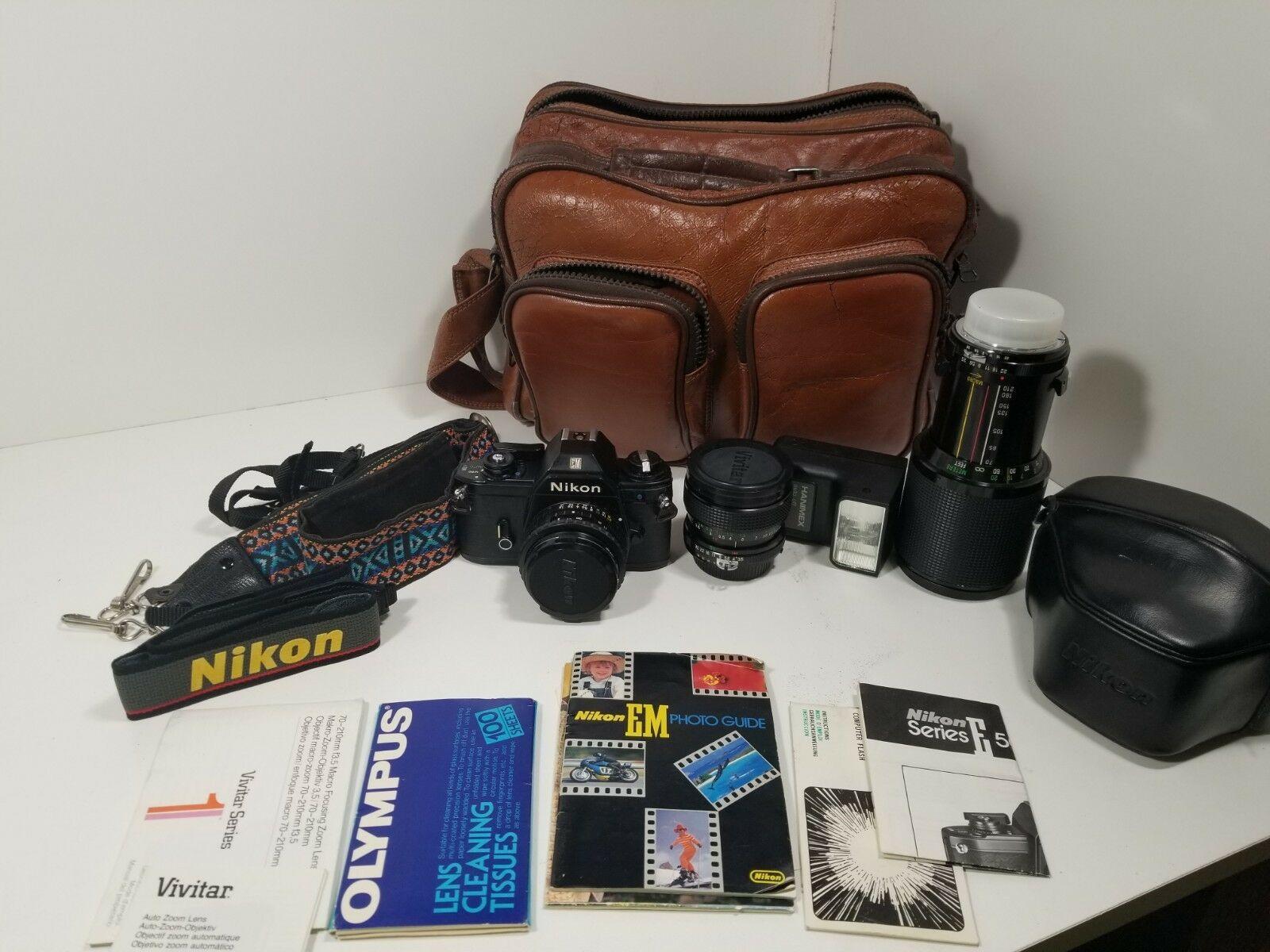 Nikon EM 35MM and 50MM Lens ..Camera and Bag and Vivitar Lenses...