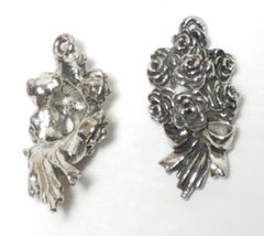 BOUQUET OF ROSES FINE PEWTER PENDANT CHARM - 10x21x6mm image 3
