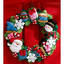 Bucilla Christmas Toys Santa Snowman Drum Gift Train Wreath Felt Craft K... - $52.95