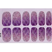 Set of 6 Stylish Bright Gradient Glittery Nail Art Stickers, Purple
