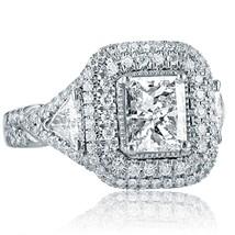 2.47 TCW Radiant Cut Trillion Side Diamond Engagement Ring 18k White Gold - $4,454.01