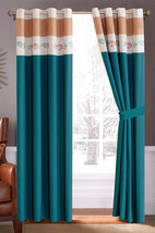 4-P Oceana Scallop Snail Shell Seastar Embroidery Curtain Set Teal-Blue ... - $40.89