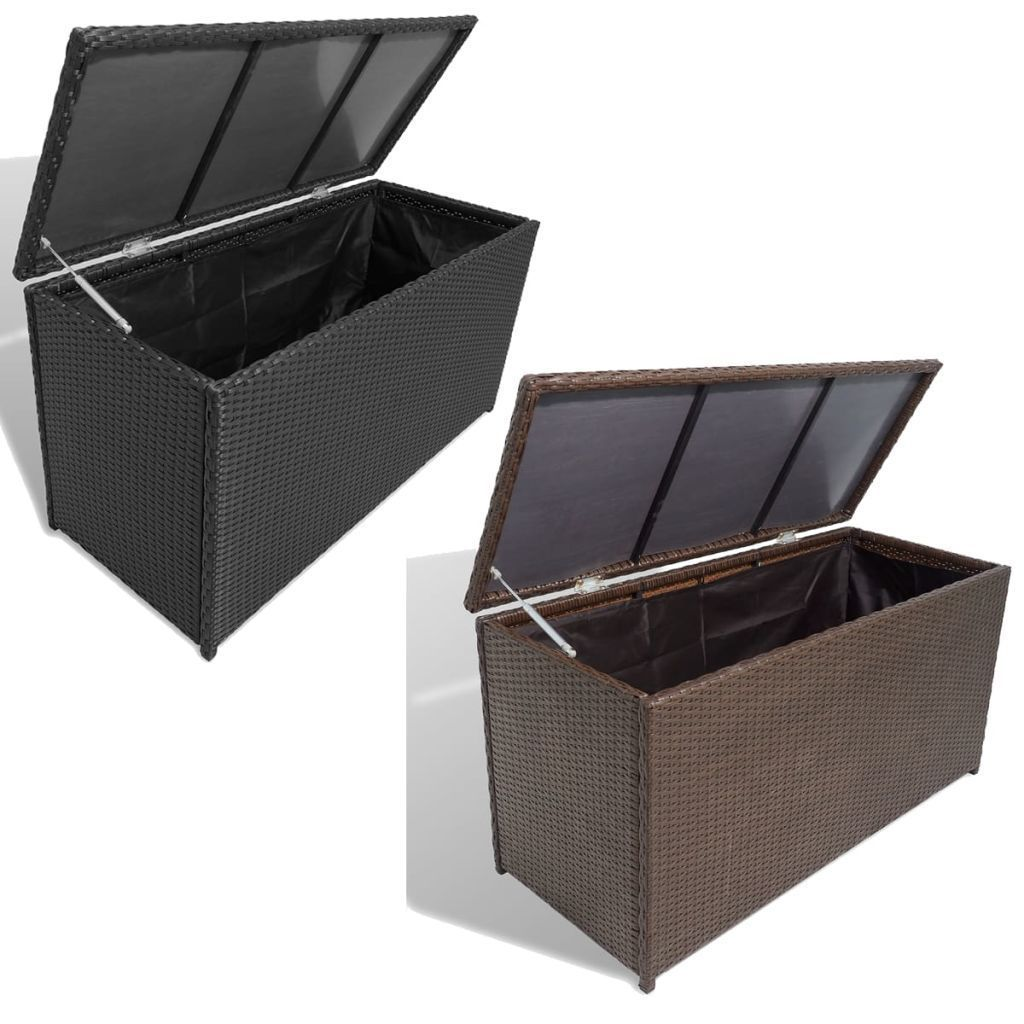 vidaXL Garden Storage Chest Poly Rattan Bench Cabinet Box Organizer 2 Colors