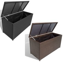 vidaXL Garden Storage Chest Poly Rattan Bench Cabinet Box Organizer 2 Colors image 1