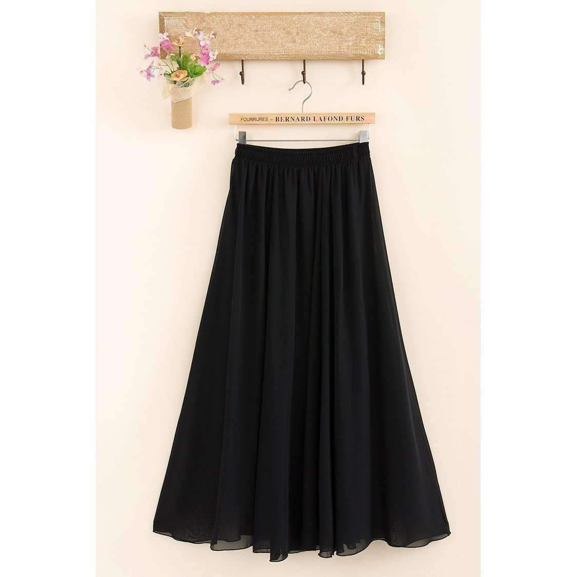 Candy Color Elegant Pleated Women Chiffon Maxi Skirt