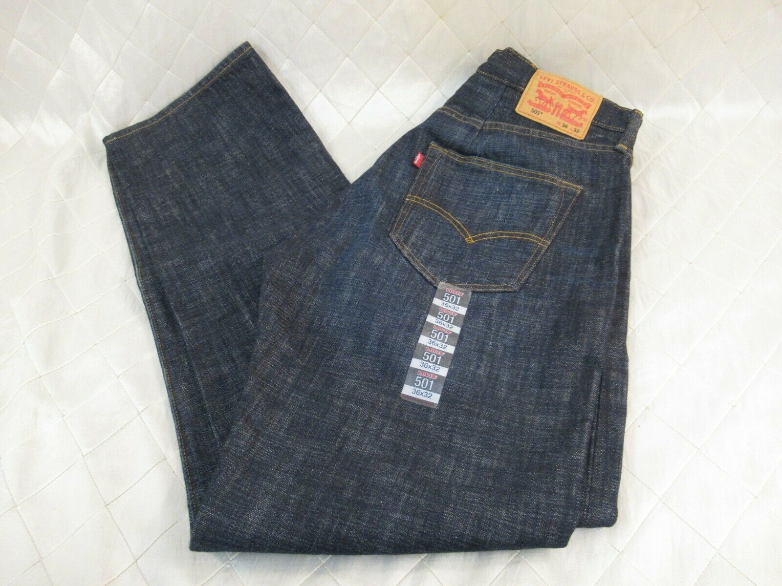 NWT Altered Levis 501 Mens Button Fly 36 x 32 Whiskered Blue Denim - $43.35