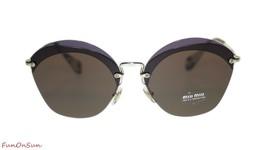 Miu Miu Irregular Sunglasses MU53SS VX29L1 Transparent Violet/Brown  63mm - $193.03