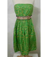 PLENTY TRACY REESE Dress 100% Silk Green Floral Bead Trim Bubble India 8  - $179.99