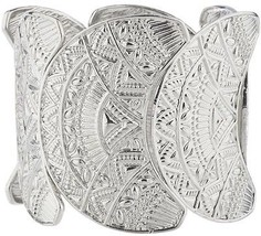 Lux Accessories Silvertone Wide Aztec Tribal Stretch Bracelet - $12.13