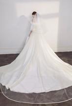 Cathedral Length Wedding Bridal Veil Full Edge Tulle White Veils Wedding Photo  image 4