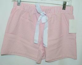 Ellie O Womens Seersucker Lounge Shorts Pink Stripe Size Small image 1