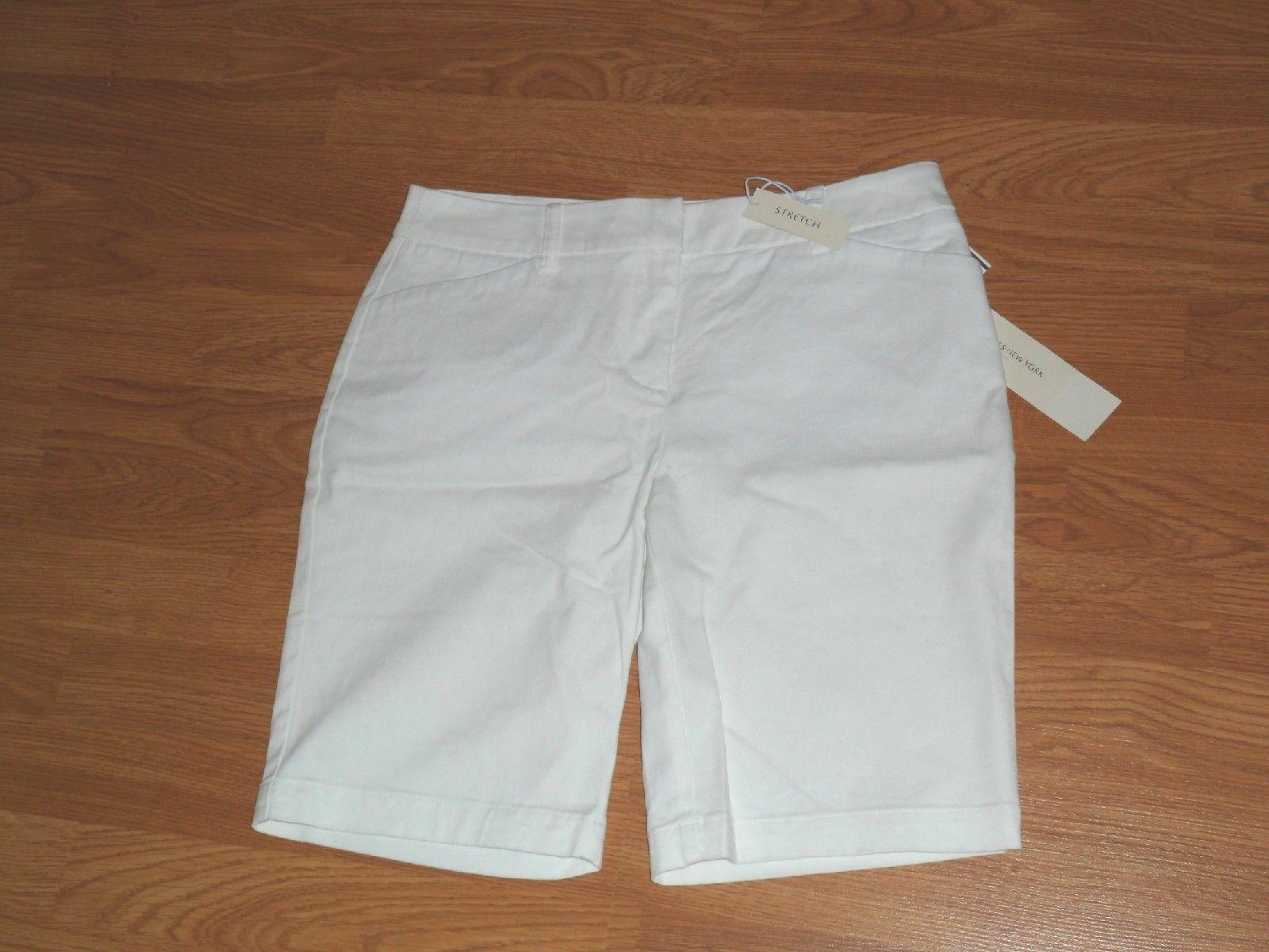 *JONES NEW YORK SPORT BERMUDA SHORTS SIZE 6-8-8P WHITE STRETCH MSRP:$44.00 NWT