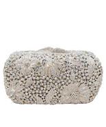 Anthony David USA Silver Metal & Aurora Borealis Crystal Clutch Evening Bag - $174.23
