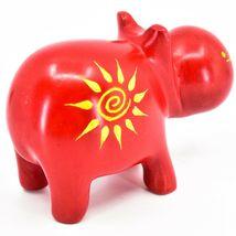 "Hand Carved Kisii Soapstone ""Crimson Sunshine"" Red Hippopotamus Hippo Figure image 4"