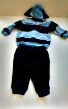 Ralph Lauren Navy Blue Velour Hood Jacket & Pant 2 PC Sweatsuit Size 6 M... - $13.98