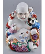 Vintage Chinese Famille Rose Porcelain Laughing Buddha with 5 Children F... - $199.00