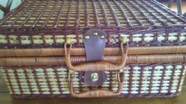 Wicker Rattan Suitcase Style Picnic Basket Red and Blue Gingham Lined - $17.30