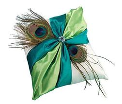 Lillian Rose Peacock Feather Blue Green Wedding Ring Pillow - $16.97