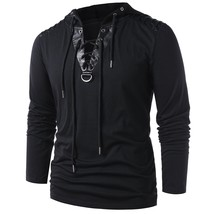Lace Up Faux Leather Insert Hoodie(BLACK M) - $17.76