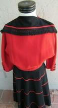 Vintage 1940s Black Red Wool Dress Europe Size 40 Ladies 29928 Woman  - $74.24