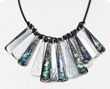 Robert Lee Morris Soho Abalone Large Charm Bib Statement Necklace $125 NWT