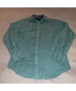 Youth Size 12 Class Club Green White Checked Plaid Button Down Shirt - $20.00