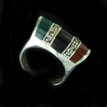 Vintage 3 Stone Marcasite Sterling Silver Ring - Onyx/Green Agate/Carnel... - $121.49
