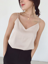 V-Neck Sleeveless Chiffon Tank Top Summer Women's Chiffon Sleeveless Top Blouse image 1