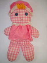 """Vintage 1975 Fisher Price Toys 420 Pink Check 12"""" Lolly Dolly w Interior... - $14.58"""