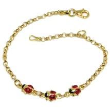 Bracelet or Jaune 18K 750, Fille, Trois Coccinelle Email, 16.5 CM - $295.16