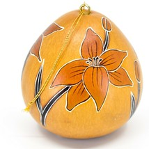 Handcrafted Carved Gourd Art Lily Lilies Flower Floral Ornament Made in Peru image 2