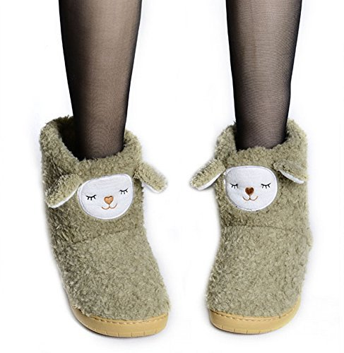 PANDA SUPERSTORE Warm Army Green Alpaca Shoes Slippers for Women, US 6.5-7