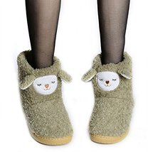 PANDA SUPERSTORE Warm Army Green Alpaca Shoes Slippers for Women, US 6.5-7 image 1