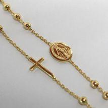 Collier Chapelet or Jaune 750 18K, Médaille Miraculeuse et Croix Latéraux, 50 CM image 4