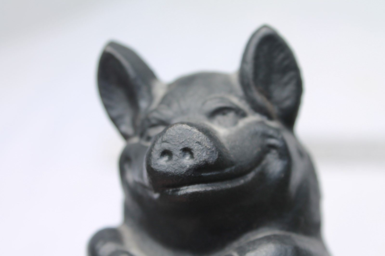 Antique Vintage Cast Iron Pig Bank Wise and Thrifty Black Doorstop By J. M. Art