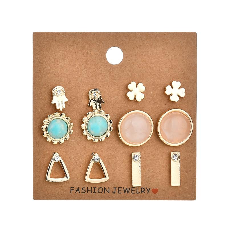 BAHYHAQ -  6 Pairs  Acrylic Stone Geometric Palm Triangle Earrings Set