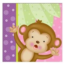 Girl Monkey Baby Shower Beverage Dessert Napkins Birthday Party Supplies 16 Ct - $2.95