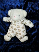 CARTERS CLASSICS BEAR VTG WHITE PJ PAJAMA STITCH BEARS/BOWS RATTLE - $17.84