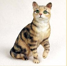 SHORTHAIRED BROWN TABBY CAT Figurine Statue Hand Painted Resin Gift - $17.25