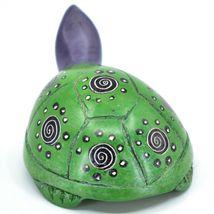 Hard Carved Kisii Soapstone Sky Green & Purple Turtle Figurine Made in Kenya image 3