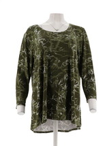 H Halston Bamboo Printed Scoop Neck 3/4 Slv Top Dark Olive M NEW A311445 - $25.72