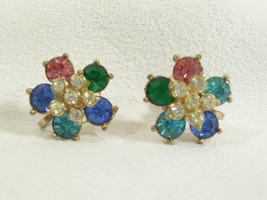 NEMO Flower Rhinestone Earrings Screw Back PASTELS Floral Vintage Blue P... - $14.84