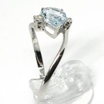18K WHITE GOLD BAND RING AQUAMARINE 1.00 DROP CUT & DIAMONDS, MADE IN ITALY  image 3