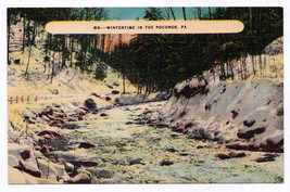 1930-45 Wintertime in the Poconos Mountains PA Pocono Linen Stroudsburg ... - $9.89
