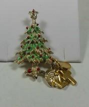 Christmas Tree Pin Brooch Green & Red Enamel - $10.88