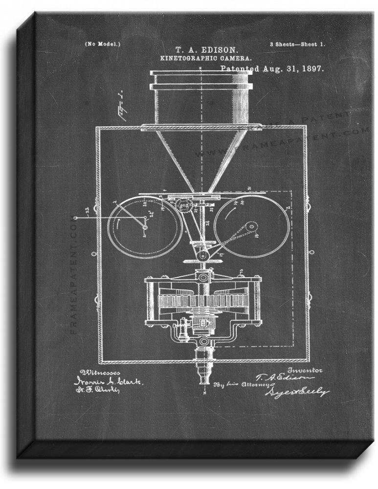 Primary image for Thomas Edison Kinetographic Camera Patent Print Chalkboard on Canvas