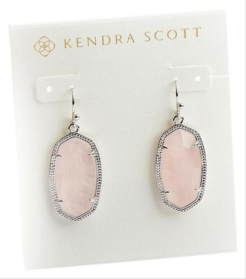 Kendra Scott Aragon Silver Earrings In Rose Quartz New Dust Bag