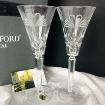 Waterford Crystal Swan Toasting Champagne Flute Set in Box Wedding Anniv... - $89.10
