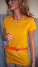 NEW M Medium Gold Long T-SHIRT TUNIC TOP Orange Leather Belt Set Shirt S... - $9.99