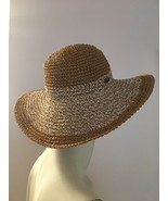 Cappelli Straworld 100% Paper Straw Hat Tan White Wide Brim Foldaway Bea... - $24.75